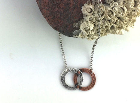 Union Necklace, silver and copper